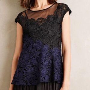 Anthropologie Deletta blue black lace blouse